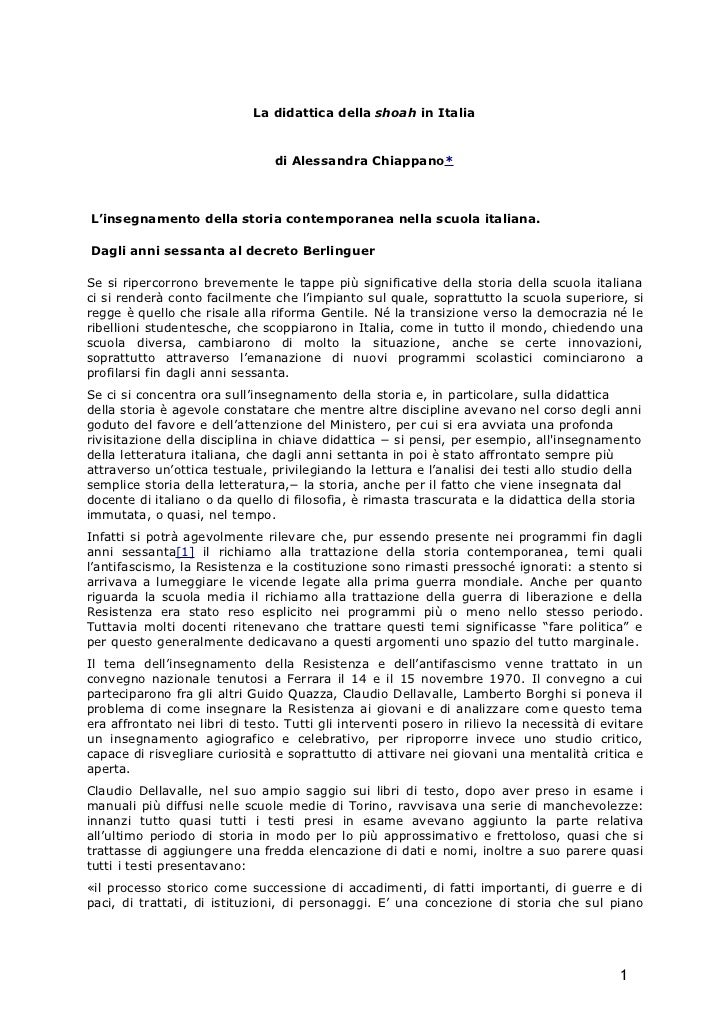 Alessandra Chiappano: La didattica della Shoah in Italia (con guida bibliografica)