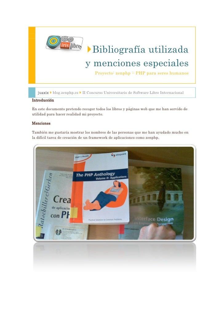 Bibliografía utilizada                               y menciones especiales                                    Proyecto: ...