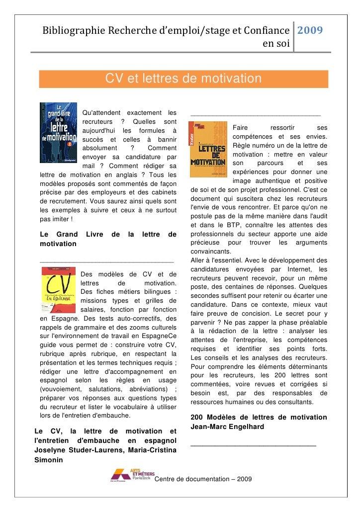 Bibliographie Recherche d'emploi/stage et Confiance 2009                                                en soi            ...