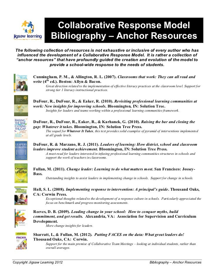 Collaborative Response Model                       Bibliography – Anchor Resources The following collection of resources i...