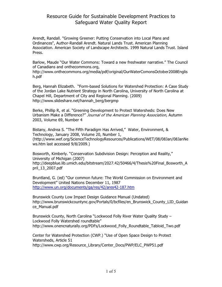 Resource Guide for Sustainable Development Practices to                   Safeguard Water Quality Report   Arendt, Randall...