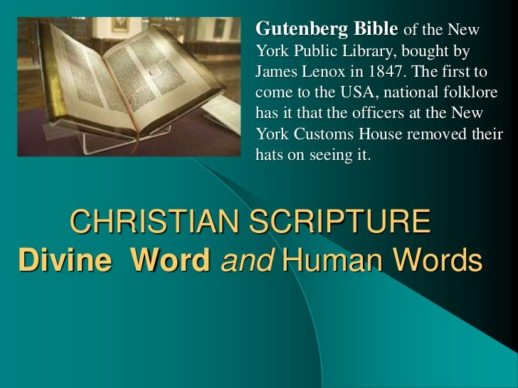 Gutenberg Bible of the New             York Public Library, bought by             James Lenox in 1847. The first to       ...