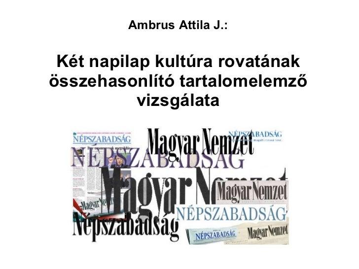Ambrus Attila J.:   Két napilap kultúra rovatának összehasonlító tartalomelemző vizsgálata