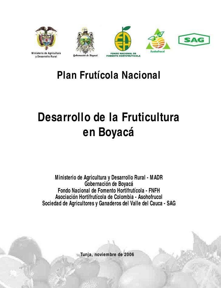 Ministerio de Agricultura   y Desarrollo Rural                     Plan Frutícola Nacional     Desarrollo de la Fruticultu...
