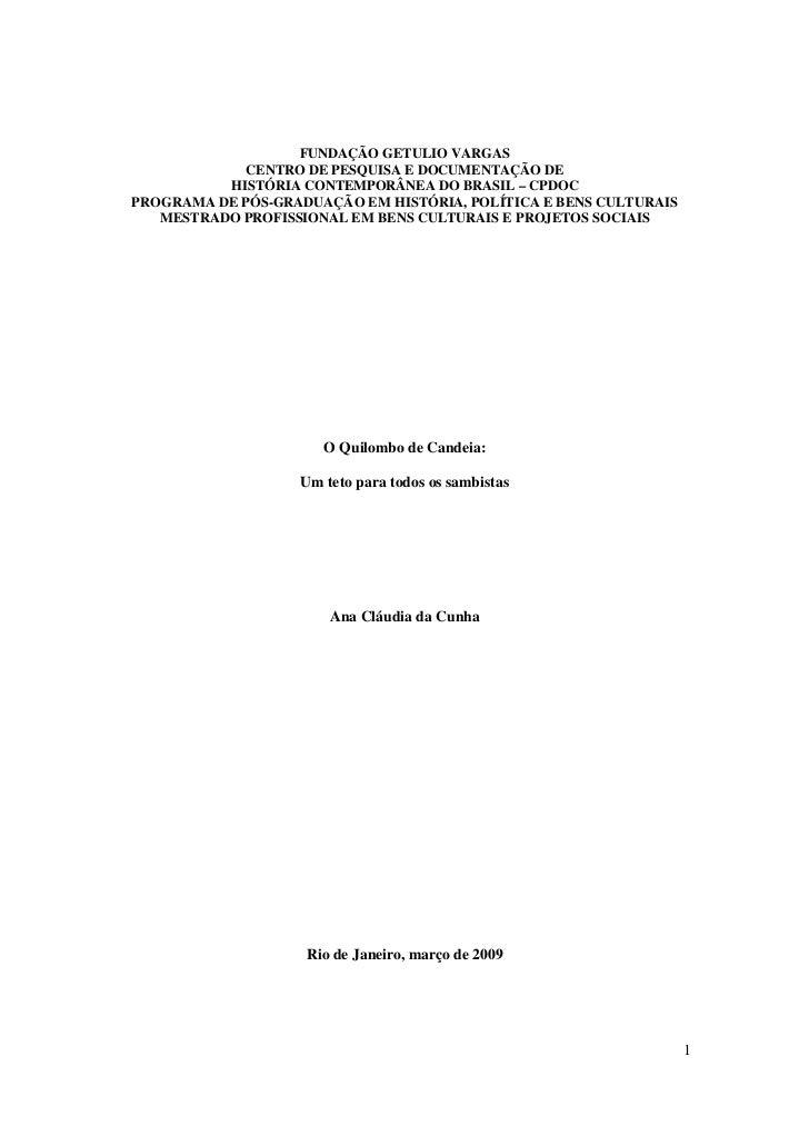 FUNDAÇÃO GETULIO VARGAS             CENTRO DE PESQUISA E DOCUMENTAÇÃO DE          HISTÓRIA CONTEMPORÂNEA DO BRASIL – CPDOC...