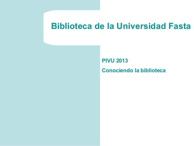 Biblioteca Fasta PIVU
