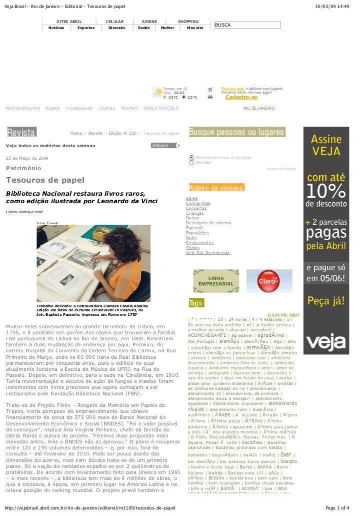 Veja Brasil - Rio de Janeiro - Editorial - Tesouros de papel                                                              ...