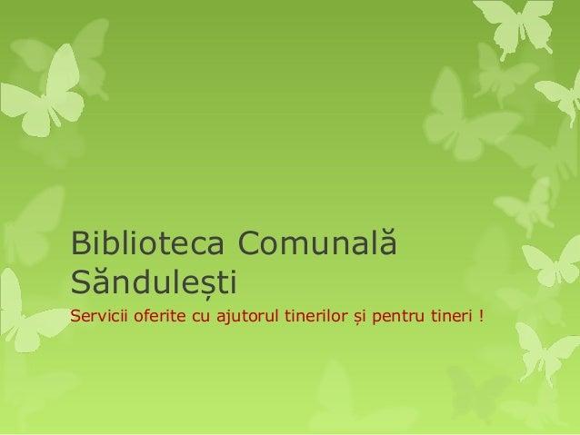 Biblioteca ComunalăSăndule tișServicii oferite cu ajutorul tinerilor i pentru tineri !ș
