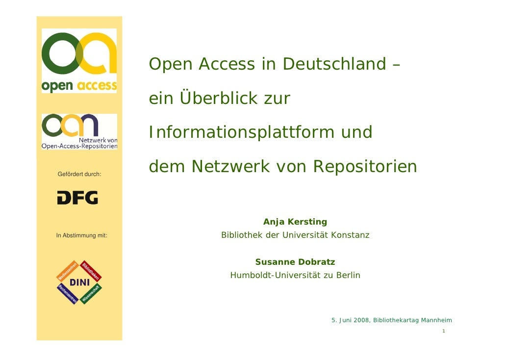 Bibliothekartag 2008 - Open Access in Deutschland
