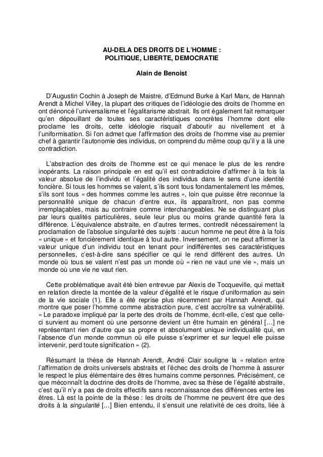 AU-DELA DES DROITS DE L'HOMME : POLITIQUE, LIBERTE, DEMOCRATIE Alain de Benoist D'Augustin Cochin à Joseph de Maistre, d'E...