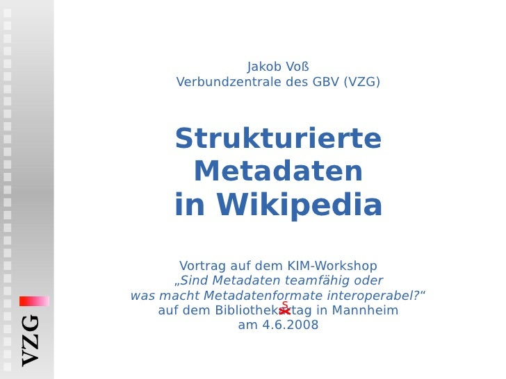 Strukturierte Metadaten in Wikipedia