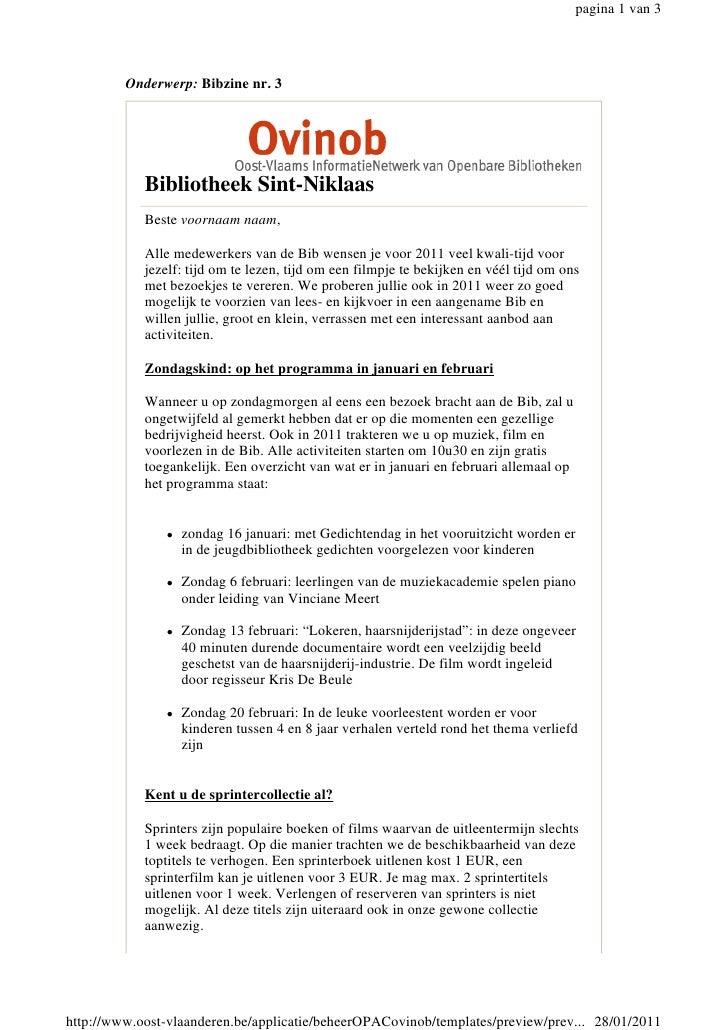 pagina 1 van 3         Onderwerp: Bibzine nr. 3            Bibliotheek Sint-Niklaas            Beste voornaam naam,       ...