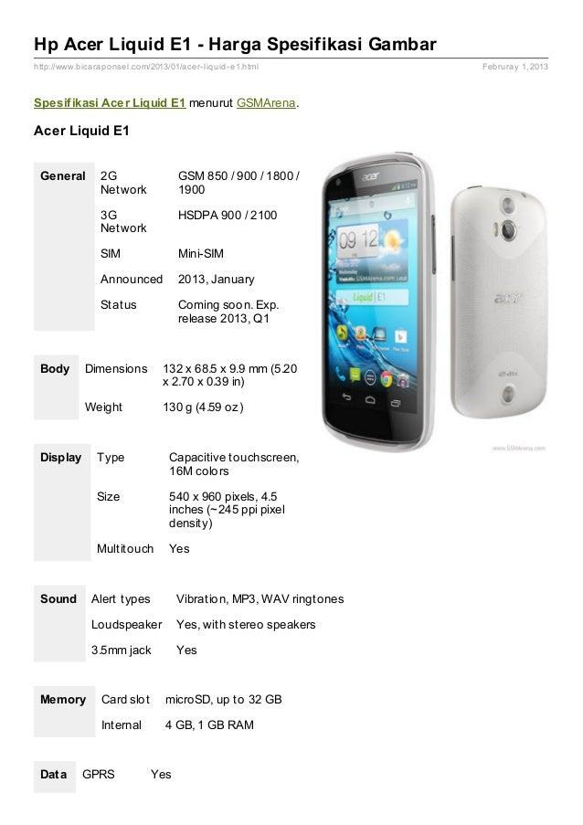 Hp Acer Liquid E1 - Harga Spesifikasi Gambarhttp://www.bicaraponsel.com/2013/01/acer- liquid- e1.html           Februray 1...