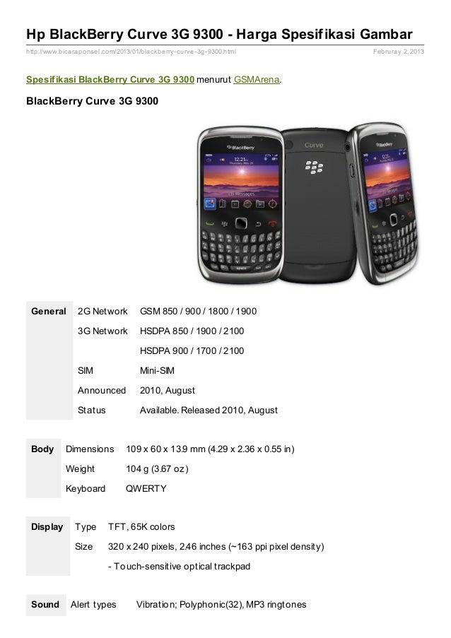 Spesifikasi Hp Blackberry Curve 9300