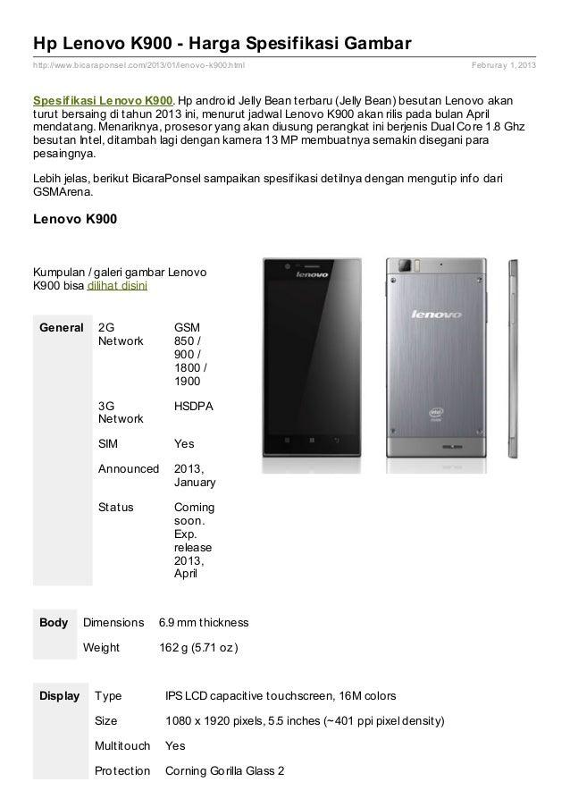 Spesifikasi Lenovo K900