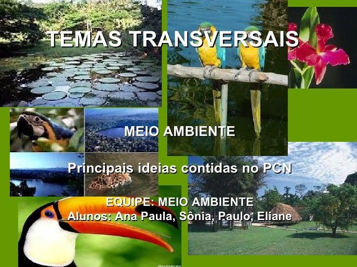 TEMAS TRANSVERSAIS          MEIO AMBIENTE Principais ideias contidas no PCN       EQUIPE: MEIO AMBIENTE Alunos: Ana Paula,...