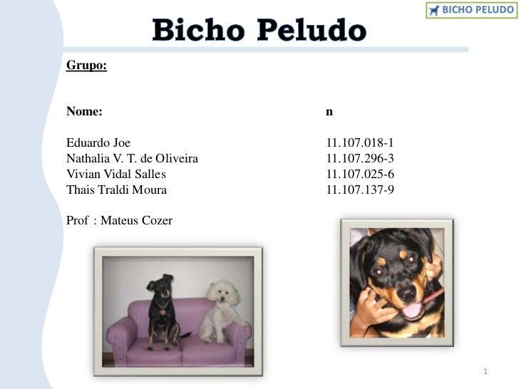 1<br />Bicho Peludo<br />Grupo:<br />Nome:n°<br />Eduardo Joe 11.107.018-1<br />Nathalia V. T. de Oliveira11.1...