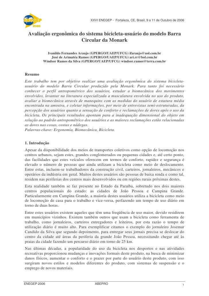 XXVI ENEGEP - Fortaleza, CE, Brasil, 9 a 11 de Outubro de 2006      Avaliação ergonômica do sistema bicicleta-usuário do m...