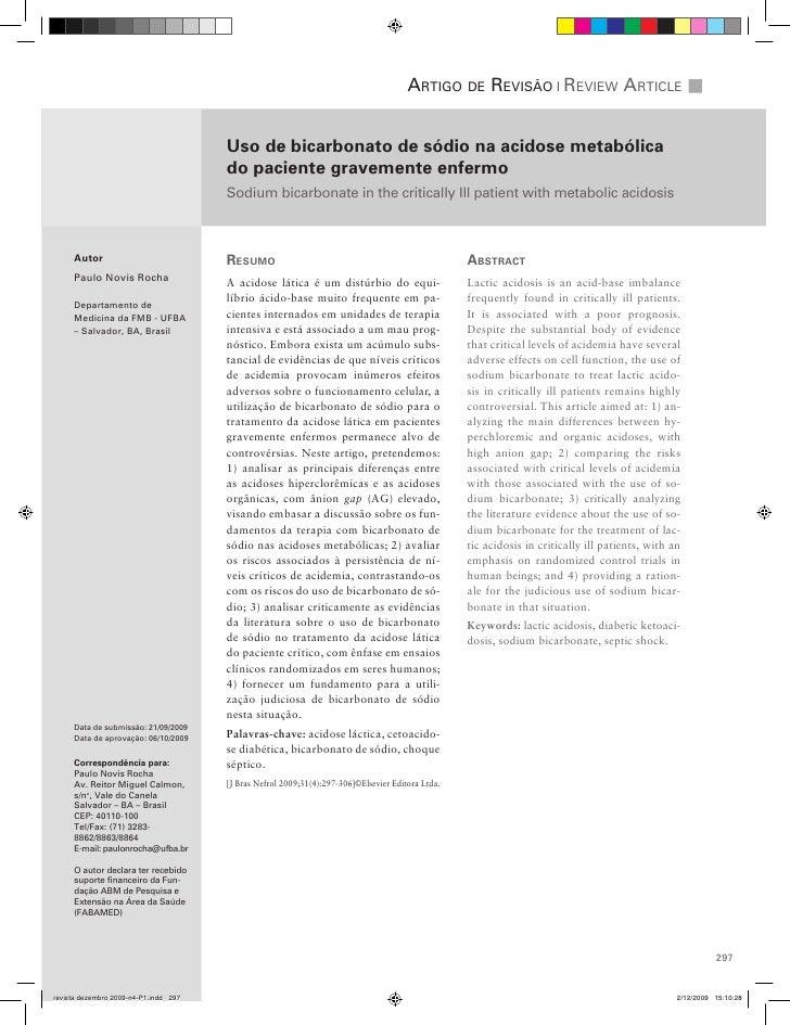artigo de reviSão | review artiCle                                   Uso de bicarbonato de sódio na acidose metabólica    ...