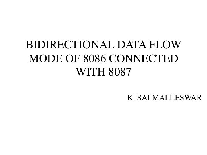BIDIRECTIONAL DATA FLOWMODE OF 8086 CONNECTED        WITH 8087              K. SAI MALLESWAR