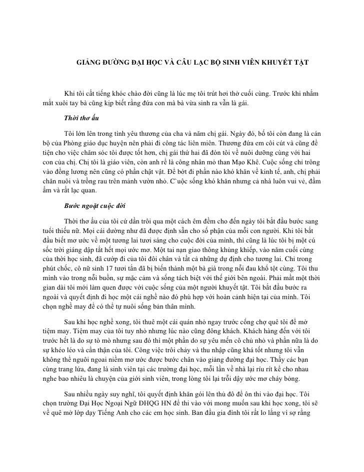 GIẢNG ĐƯỜNG ĐẠI HỌC VÀ CÂU LẠC BỘ SINH VIÊN KHUYẾT TẬT       Khi tôi cất tiếng khóc chào đời cũng là lúc mẹ tôi trút hơi t...