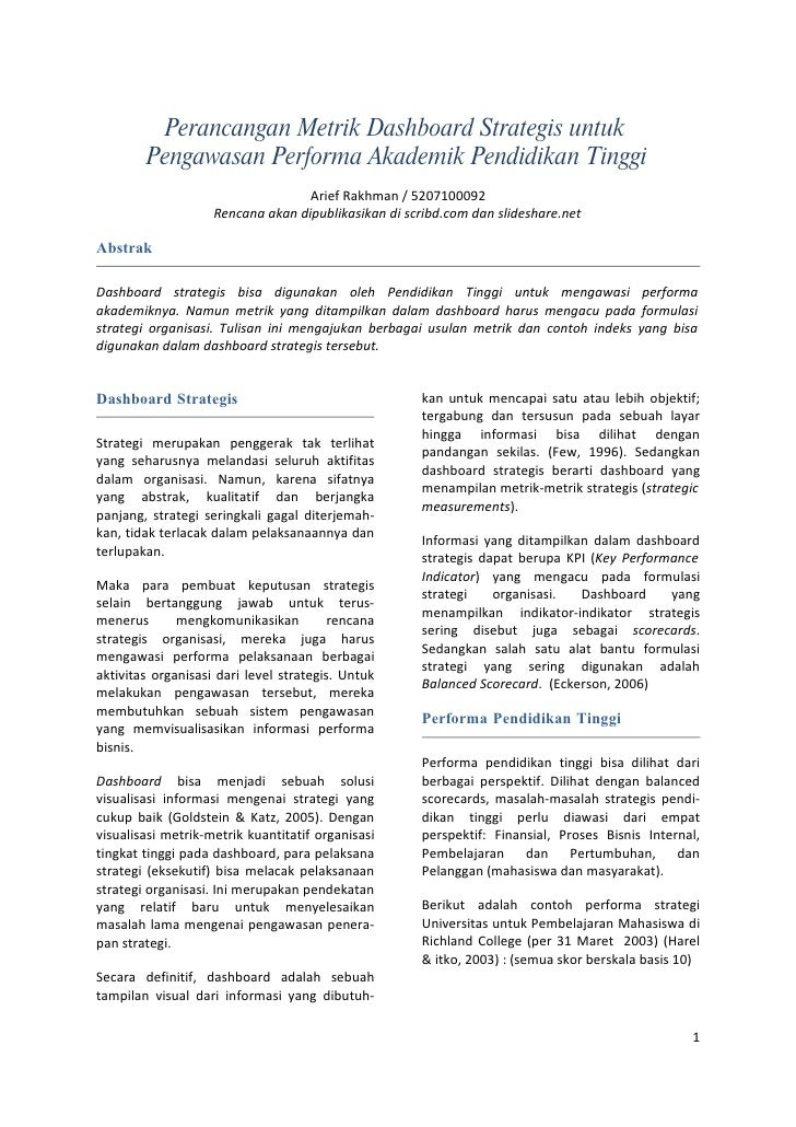 Perancangan Metrik Dashboard Strategis untuk         Pengawasan Performa Akademik Pendidikan Tinggi                       ...