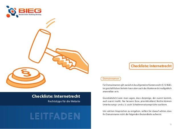 Checkliste: Internetrecht                                          Domainnamen                                          Fü...