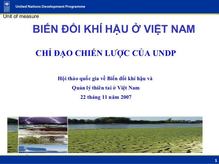 BIẾN ĐỔI KHÍ HẬU Ở VIỆT NAM <ul><li>CHỈ ĐẠO CHIẾN LƯỢC CỦA UNDP </li></ul><ul><li>Hội thảo quốc gia về Biến đổi khí hậu và...