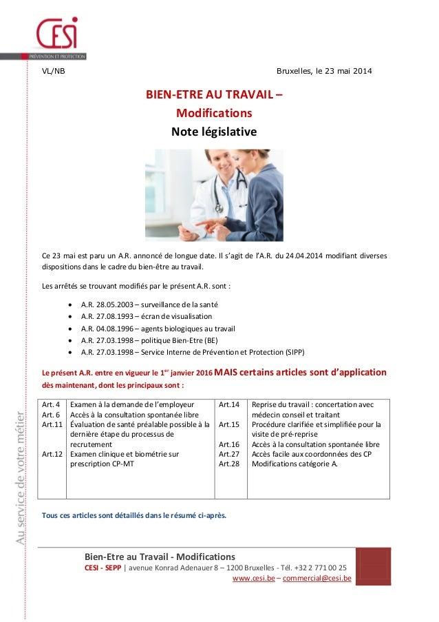 Bien-Etre au Travail - Modifications CESI - SEPP | avenue Konrad Adenauer 8 – 1200 Bruxelles - Tél. +32 2 771 00 25 www.ce...