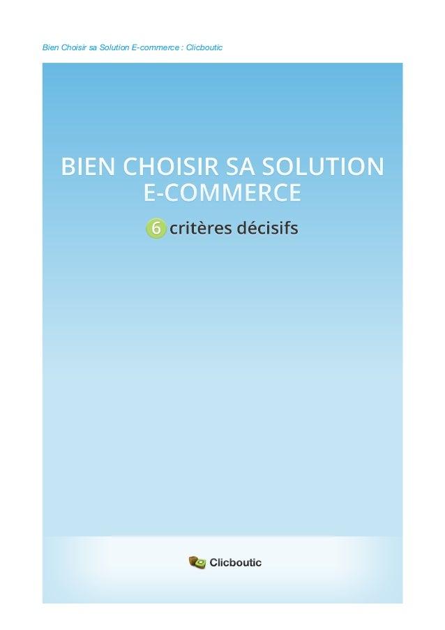 Bien Choisir sa Solution E-Commerce