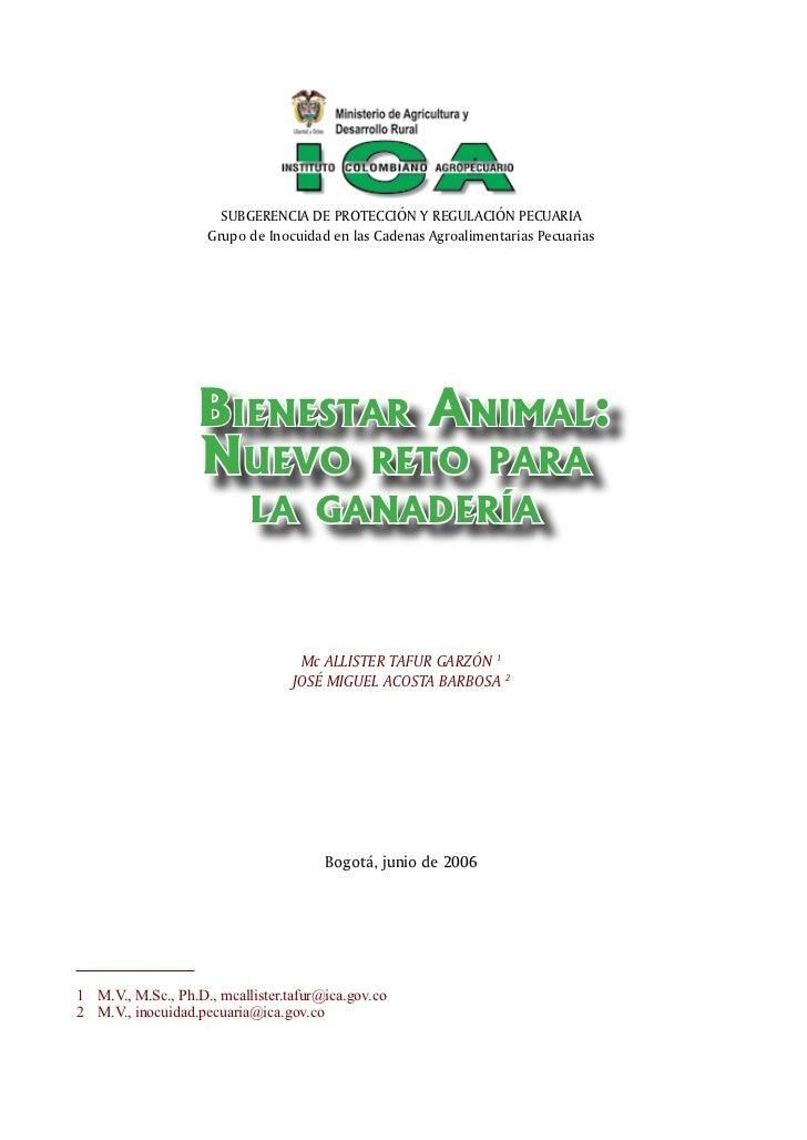 SUBGERENCIA DE PROTECCIÓN Y REGULACIÓN PECUARIA                     Grupo de Inocuidad en las Cadenas Agroalimentarias Pec...