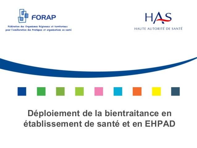 HAS - Déploiement de la bientraitance en établissement de santé et en EHPAD - 2013