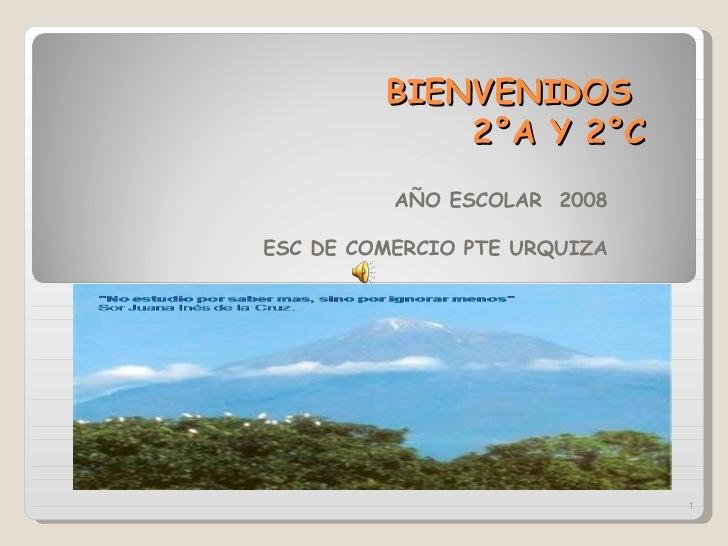 BIENVENIDOS    2°A Y 2°C AÑO ESCOLAR  2008 ESC DE COMERCIO PTE URQUIZA