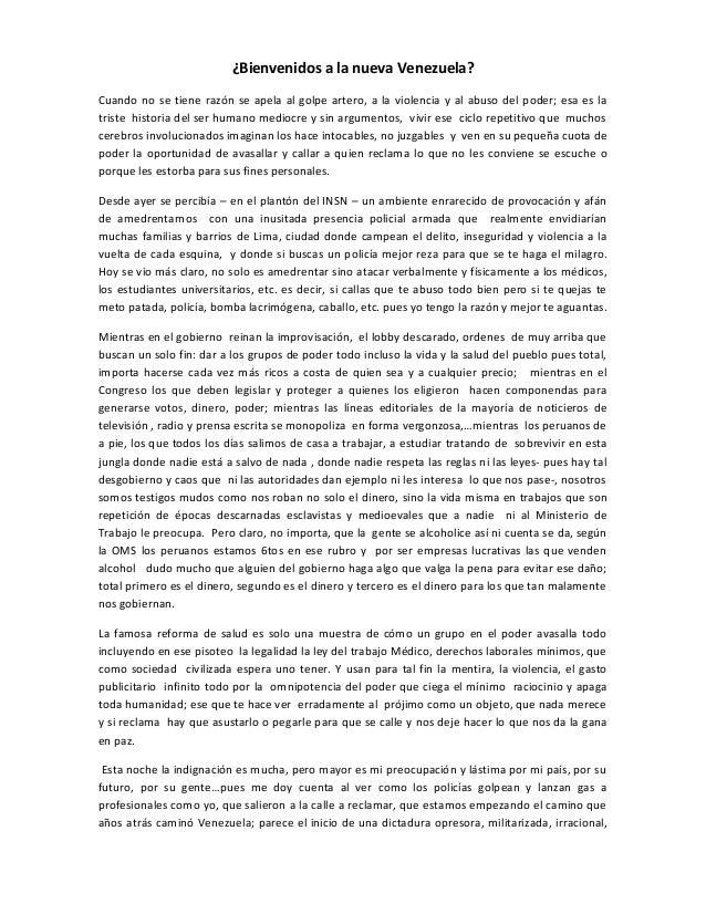 ¿Bienvenidos a la nueva Venezuela? Cuando no se tiene razón se apela al golpe artero, a la violencia y al abuso del poder;...