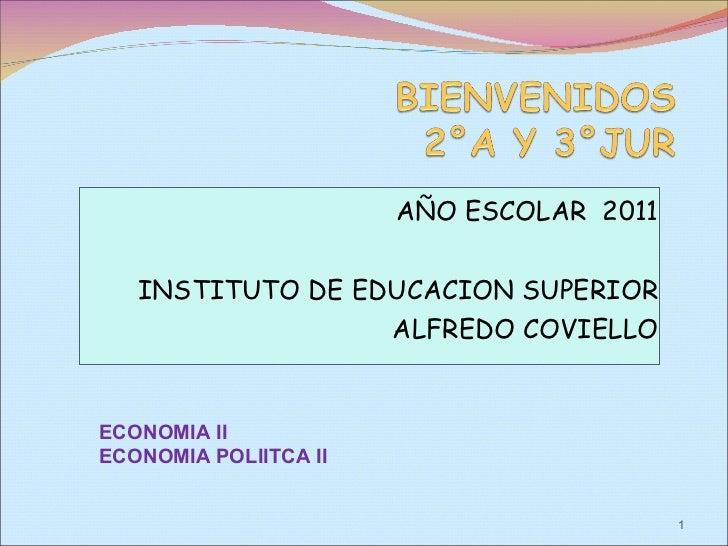 AÑO ESCOLAR  2011 INSTITUTO DE EDUCACION SUPERIOR ALFREDO COVIELLO ECONOMIA II  ECONOMIA POLIITCA II