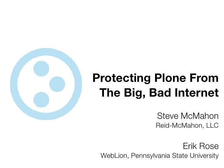 Protecting Plone From  The Big, Bad Internet                    Steve McMahon                   Reid-McMahon, LLC         ...