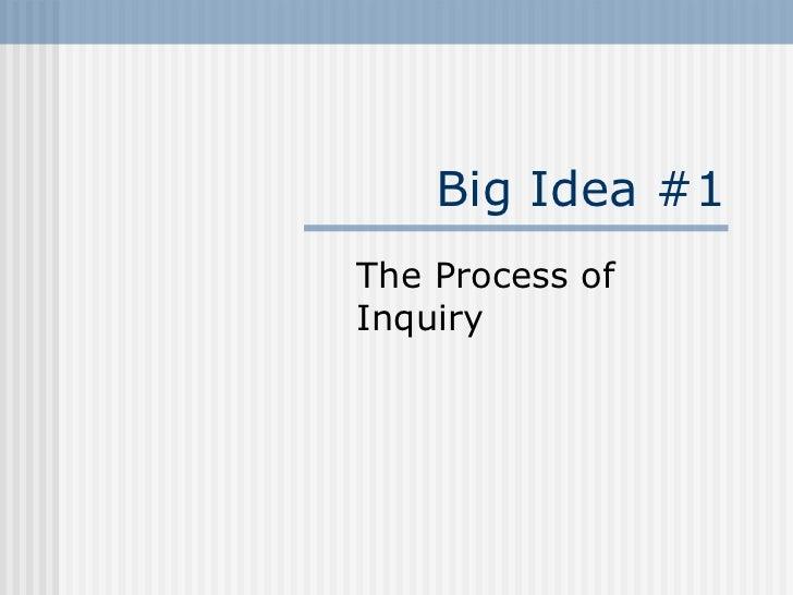 Big Idea #1 The Process of Inquiry
