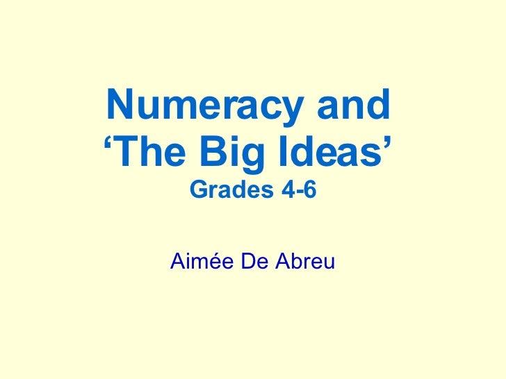 Big Ideas Numeracy Workshop