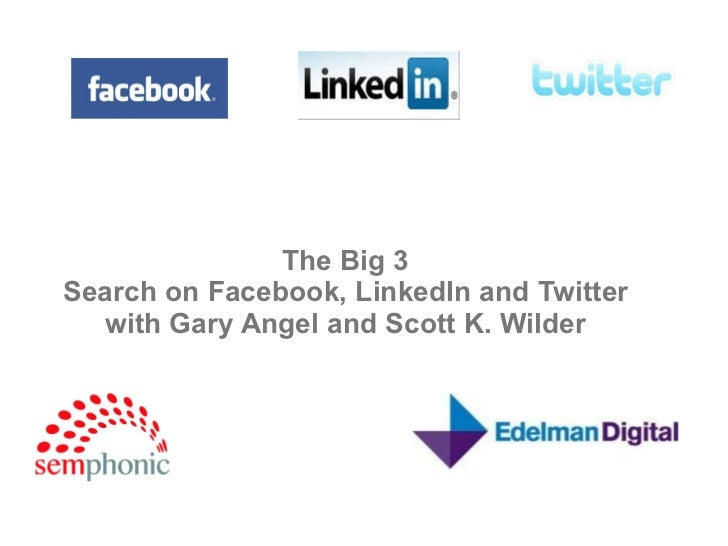SEO and Social Search on Facebook, LinkedIn, and Twitter by Scott Wilder
