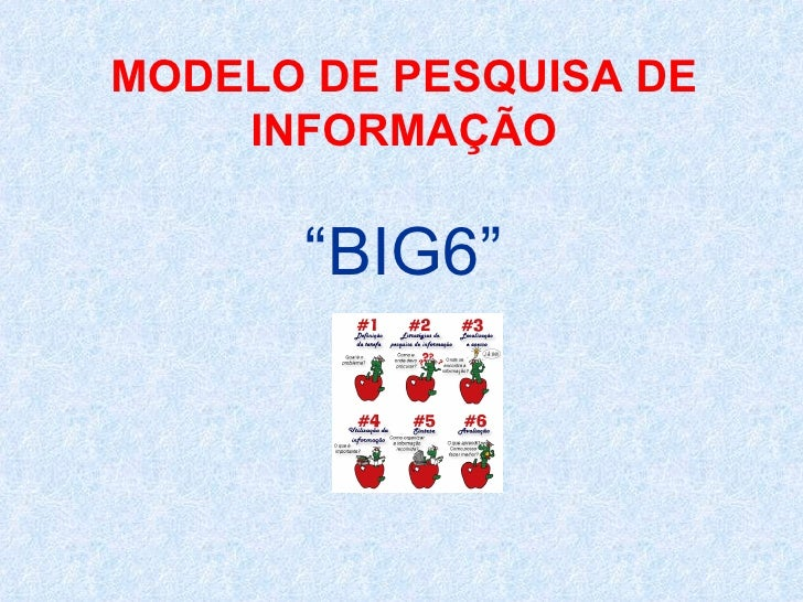 """MODELO DE PESQUISA DE INFORMAÇÃO """"BIG6"""""""