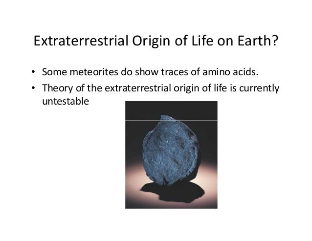an analysis of the theories about the origin of life on earth Analysis of the oldest sedimentary rocks provides evidence for the origin for the origin of life on earth: ­ for life to have originated, the following events.