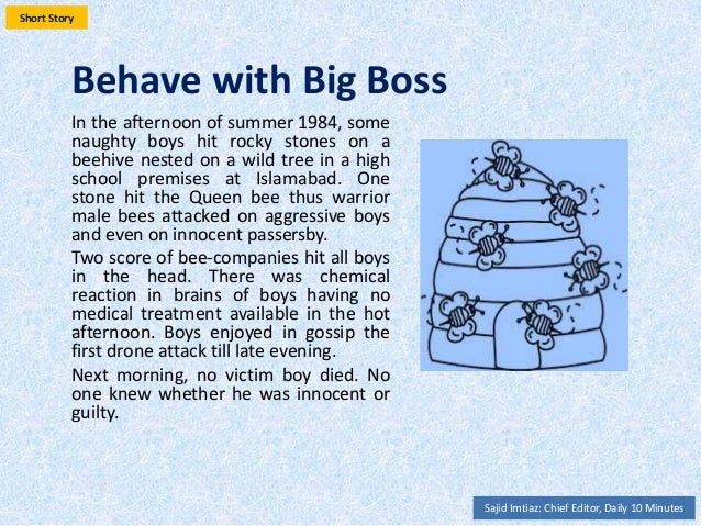 Behave with Big Boss In the afternoon of summer, some naughty boys hit rocky stones on a beehive nested on a wild tree in ...