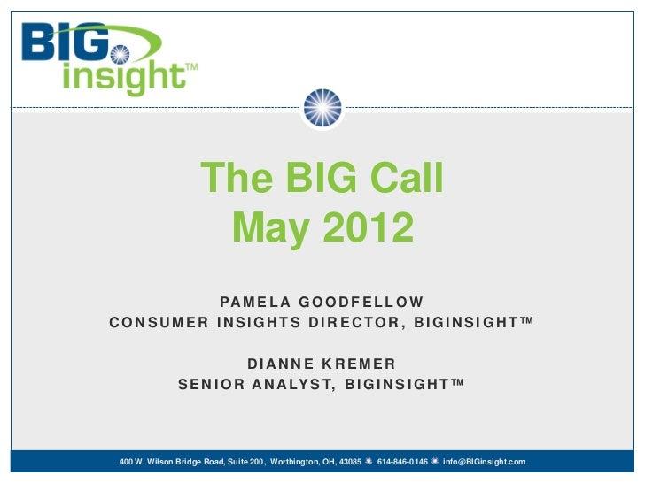 The BIG Call                    May 2012          PA M E L A G O O D F E L L O WCONSUMER INSIGHTS DIRECTOR, BIGINSIGHT™   ...
