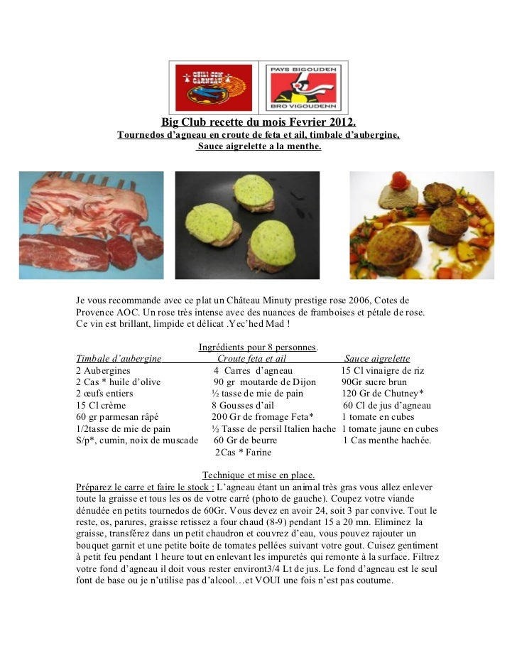 Big club recette du mois Fevrier 2012