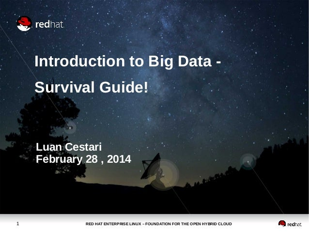 Introduction to Big Data Survival Guide!  Luan Cestari February 28 , 2014  1  RED HAT ENTERPRISE LINUX – FOUNDATION FOR TH...