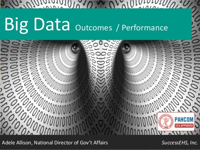 Big Data Outcomes / Performance  Adele Allison, National Director of Gov't Affairs  SuccessEHS, Inc.
