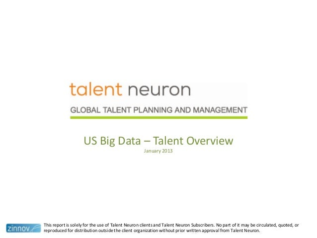 US Big Data – Talent OverviewJanuary 2013This report is solely for the use of Talent Neuron clients and Talent Neuron Subs...
