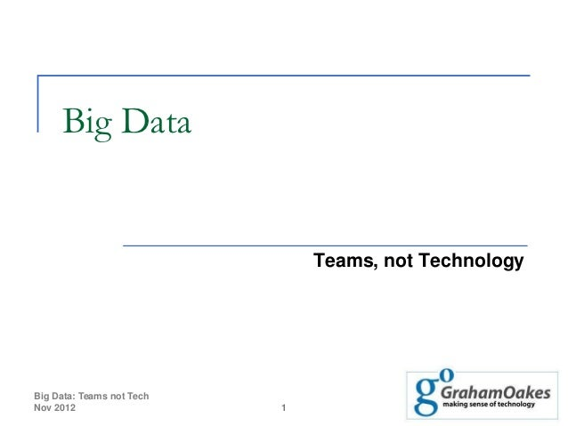 Big data - teams not technology
