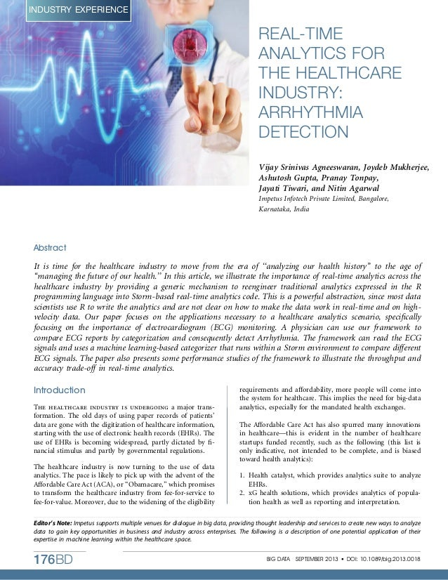 Real-time Analytics for the Healthcare Industry: Arrythmia Detection- Impetus Article