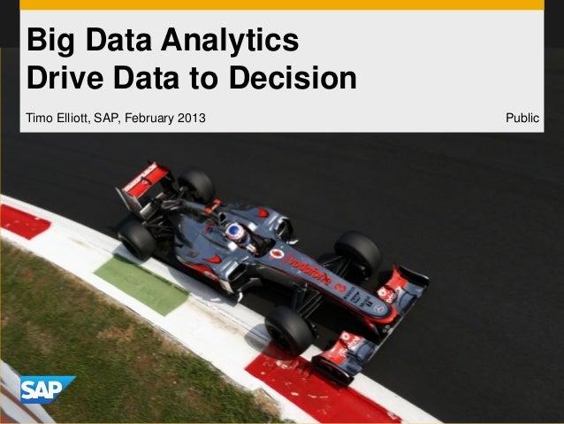 Big Data AnalyticsDrive Data to DecisionTimo Elliott, SAP, February 2013   Public